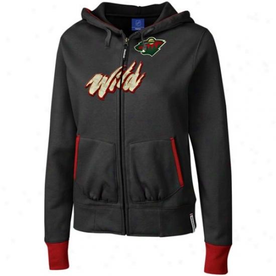Minnesota Wild Sweatshirts : Reebok Minnesota Wild Ladies Black Chant Full Zip Sweatshirts