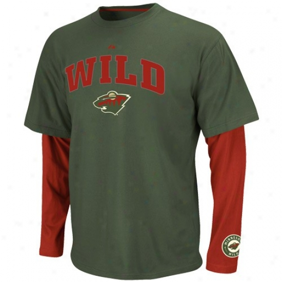 Minnesota Wild T-shirt : Majestic Miinnesota Wild Green-red Official Scorer Double Layer Premium T-shirt