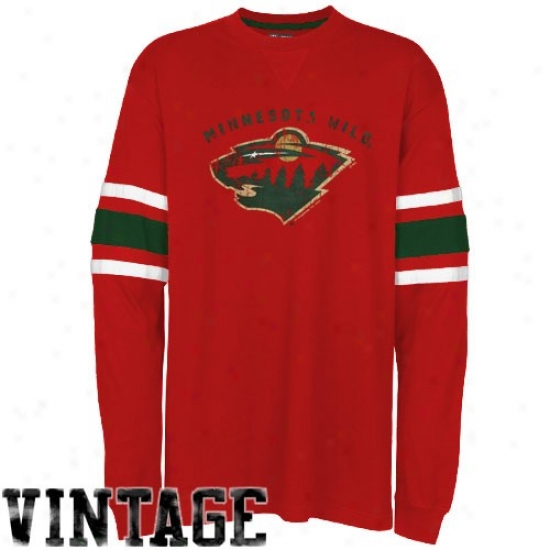 Minnesota Wild T Shirt : Majestlc Minnesota Wild Red En Line Long Sleeve Vintage T Short