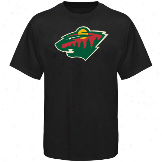 Minnesota Wild T Shirt : Old Time Hockey Minnesota Wild Black Big Logo T Shirt