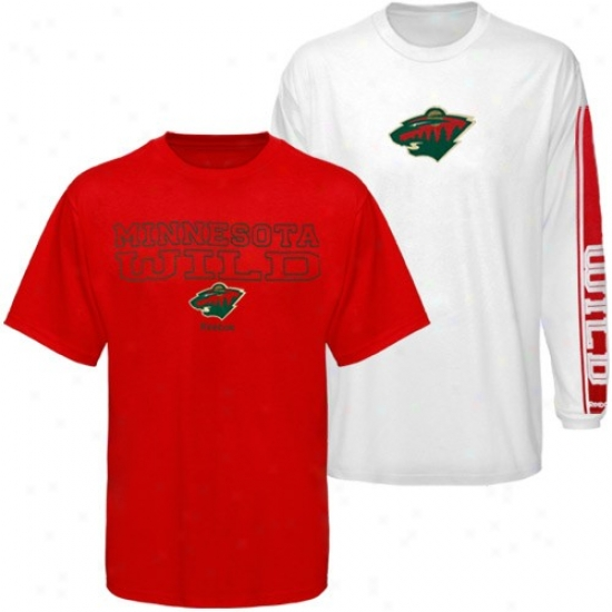 Minnesota Wild T Shirt : Reebok Minnesota Wild Red-whiet 3-in-1 T Shirt Combo Pack