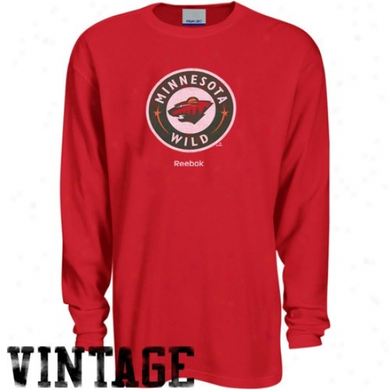 Minnesota Wild T Shirt : Reebok Minnesota Wild Red Faded Logo Long Sleeve Thermal T Shhirt