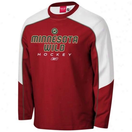 Minnesota Wild Tees : Reebok Minnesota Wild Red Match-up Constructed Long Sleeve Tees
