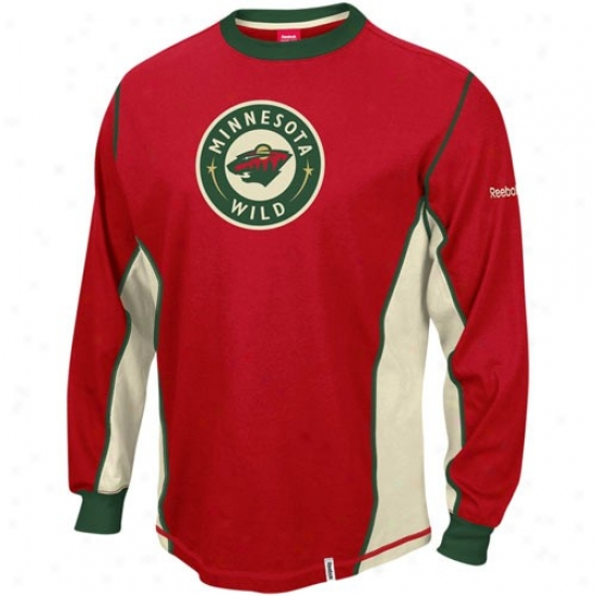 Minnesota Wild Tees : Reebok Minnesota Wild Red Downforce Cohstructed Long Sleeve Premium Tees