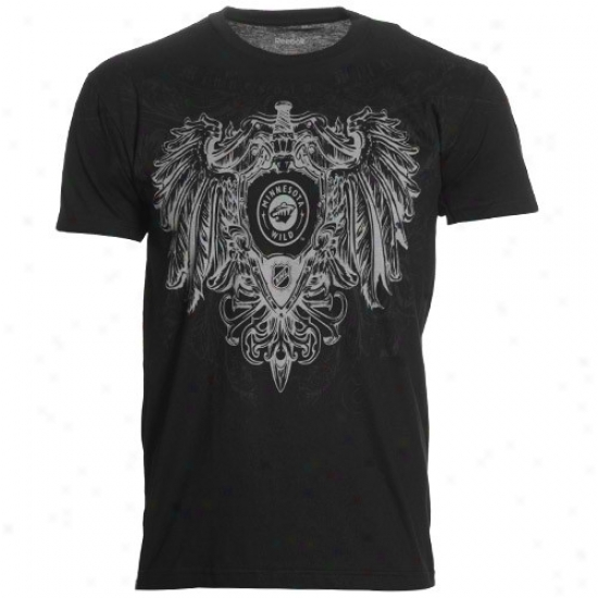 Minnesota Uncultivated Tshirts : Reebok Minnesota Wild Black Emblem of vengeance & Shield Tshirts