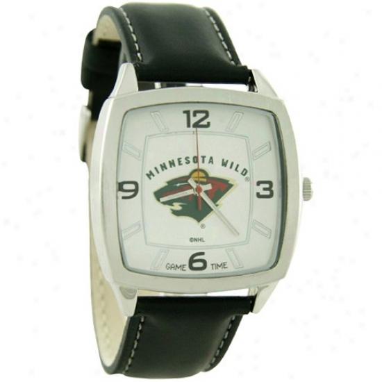Minnesota Wild Wristt Watch : Minnesota Giddy Retro Wrist Watch W/ Leather Band