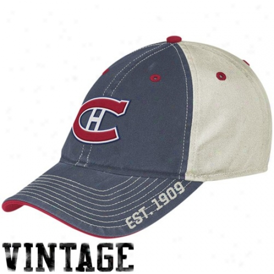 Montreal Canadien Caps : Reebok Montreal Canadien Navy Blue-white Established Logo Vintage Slouch Caps