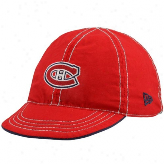 Montreal Canadien Gear: New Era Montreal Canadien Infant Red-navy Blue Mesa Flip Reversible Hat
