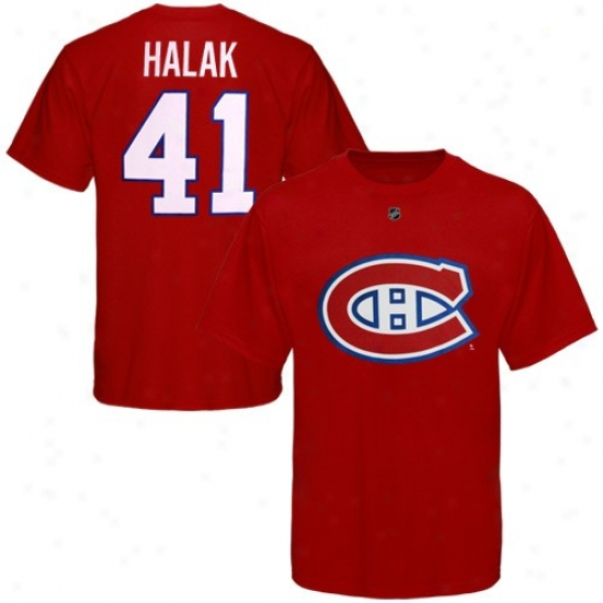 Montreal Canadien T Shirt : Reebok Montreal Canadien #41 Jaroslav Halak Red Net Performer T Shirt