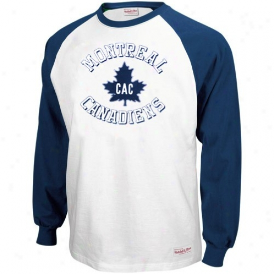 Montreal Canadiens Attire: Mitchell & Ness Montreal aCnadiens Navy Blue-white Neutral Zone Long Sleeve Raglan T-shirt