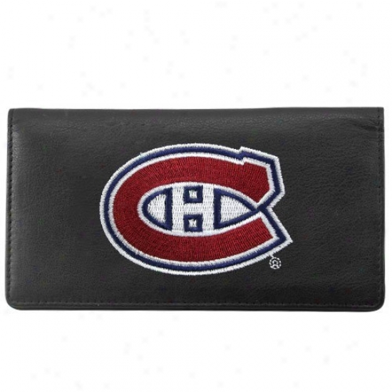 Montreal Canadiens Black Leather Embroidered Checkbook Cover