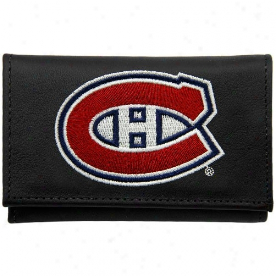 Montreal Canadiens Black Leather Embroidered Tri-fold Wallet