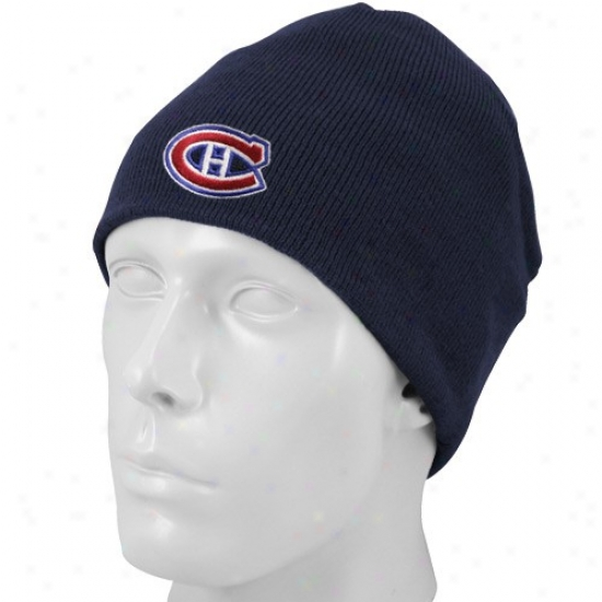 Montreal Canadiens Gear: Reebok Montreal Canadiens Ships of war Blue Basic Logo Skulpy KnitB eanie