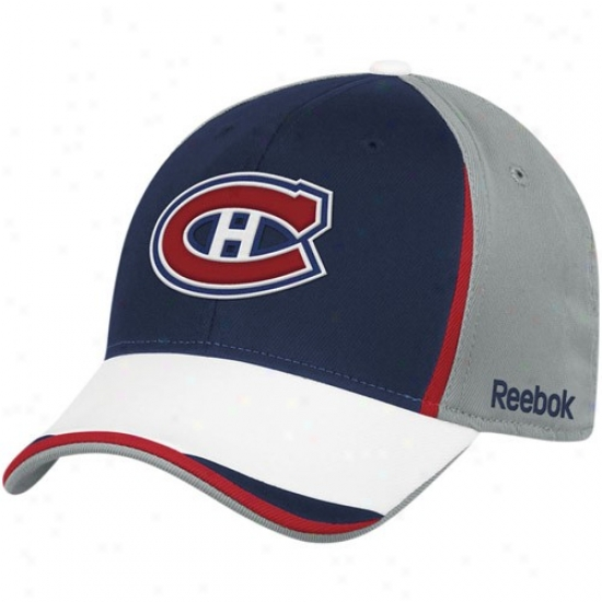 Montreal Canadiens Hat : Reebok Montrewl Canadiens Gray-navy Blue Nhl 2010 Draft Day Flex Fit Hat