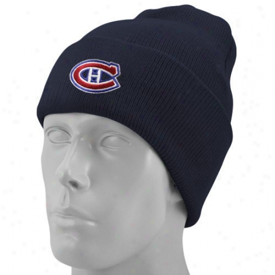 Montreal Canadiens Hats : Reebok Montreal Canadiens Navy Blue Watch Knit Beanie