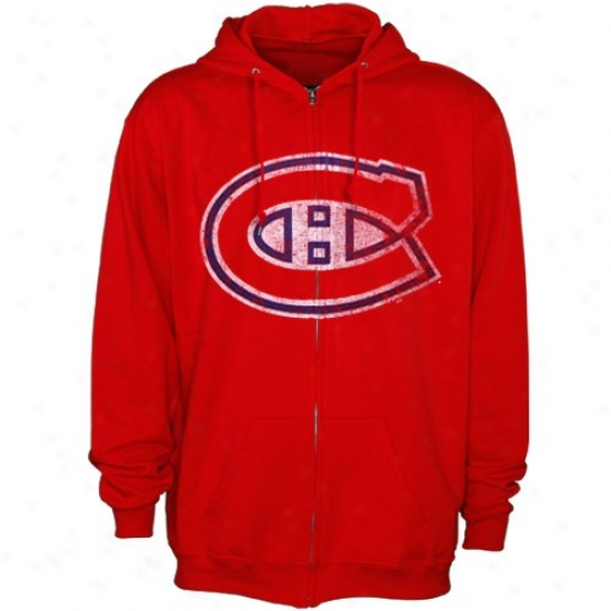 Montreal Canadiens Hoodys : Majestic Montreal Canadiens Red Authoritative Logo Full Zip Hoodys