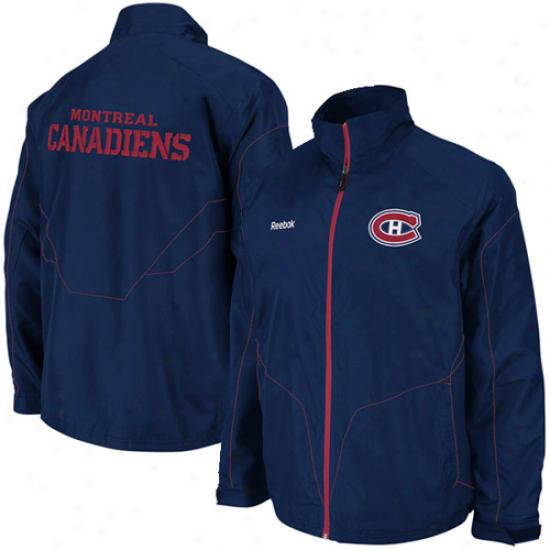 Montreal Canadiens Jacket : Reebok Montreal Canadiens Navy Blue Crnter Ice Full Zip Jacket