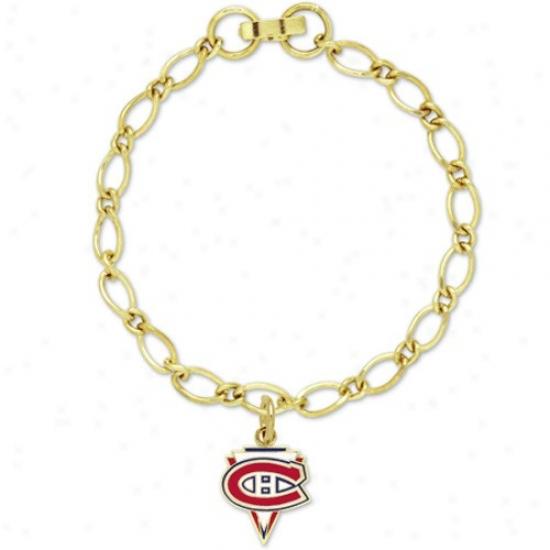 Montreal Canadiens Ladies Gold-tone Charm Bracelet