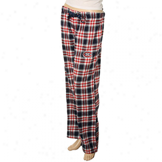 Montreal Canadiens Ladies Navy Blue-red Plaid Harmony Pajama Pants