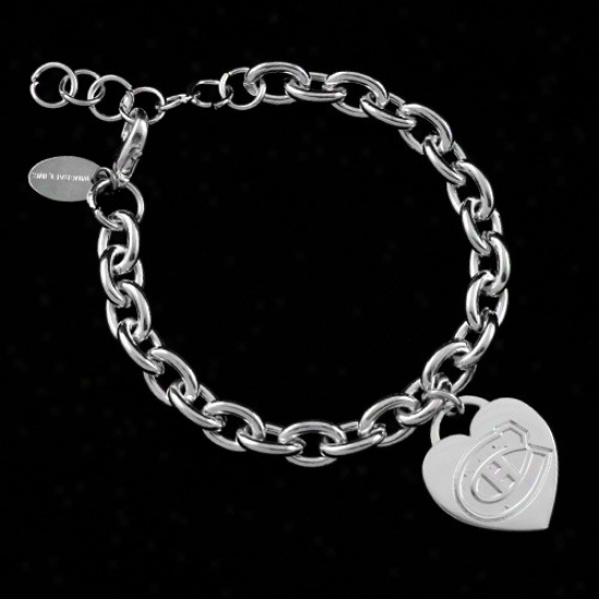 Montreal Canadlens Ladies Silver Heart Charm Bracellet