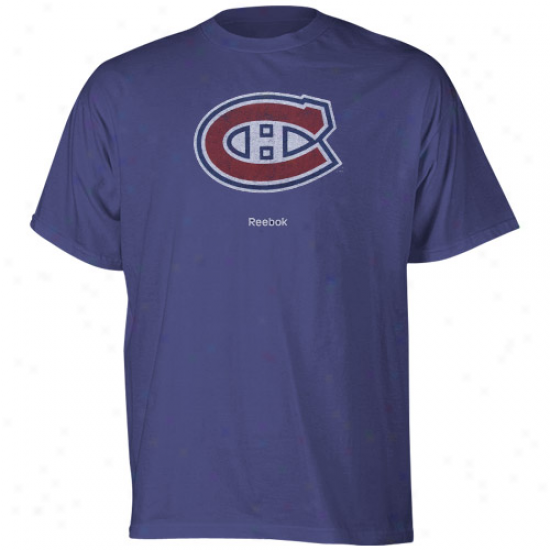 Montreal Canadien Shirt : Reebok Montreal Canadiens Navy Blue Faded Logo Shirt