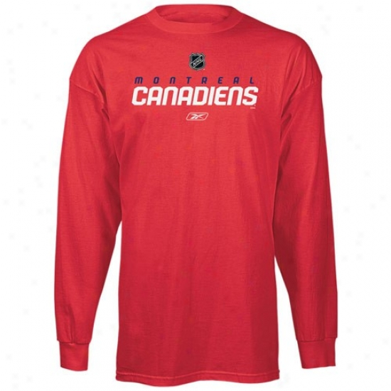 Montreal Canadiens T Shirt : Reebok Montreal Canadiend Red Power Play Long Sleeve T Shirt