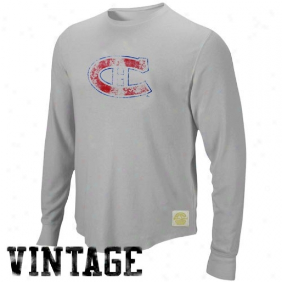 Montreal Canadiens Tees : Reebok Mpntreal Canadiens Gray Retro Logo Long Sleeve Vintage Premium Thermal Tees