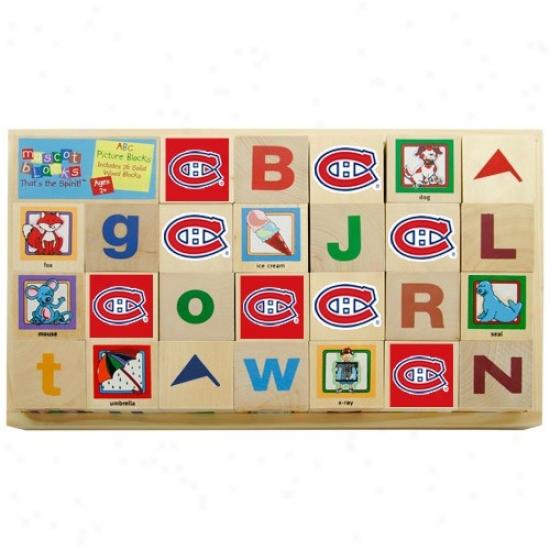 Montreal Canafiens Wooden Hockey Alphabet Blocks