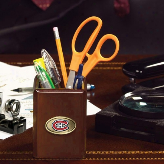 Montreal Canadiens Wooden Pencil/accessory Cup
