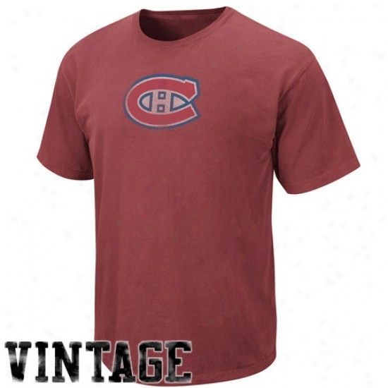 Montreal Hab Apparel: Maestic Montreal Hab Heather Red Big Time Play Vintage T-shirt