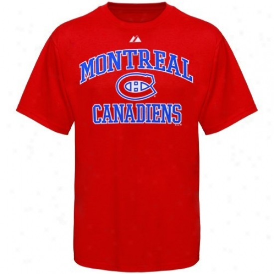 Montreao Hab Apparel: Majestic Montreal Hab Youth Red Heart & Soul T-shirt