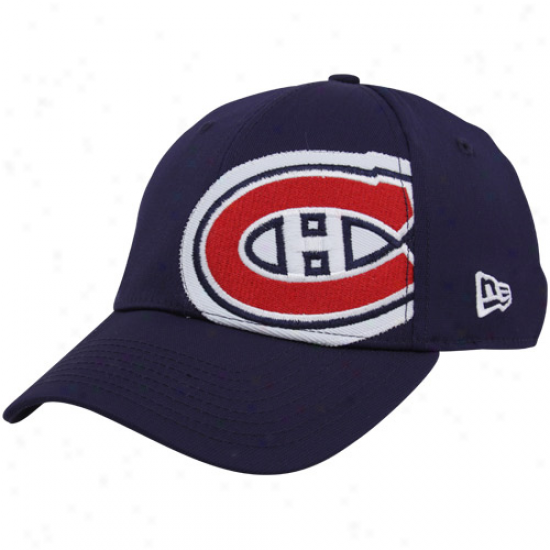 Montreal Hab Gear: New Era Montreal Hab Navy Blue Party Patch 39thirty Stretch Fit Cardinal's office
