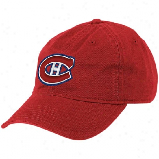 Montreal Hab Gear: Reebok Montreal Hab Red Basic Logo Slouch Hat