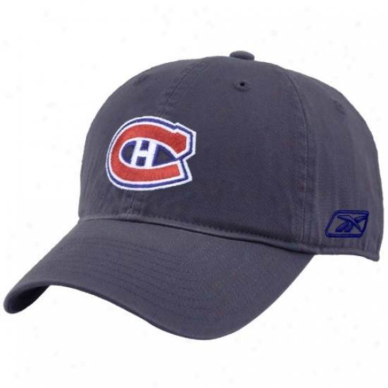 Montreal Hab Hat : Reebok Montreal Hab Navy Blue Unstructured Slouch Hat
