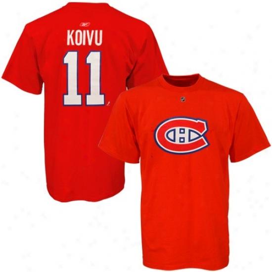 Montreal Hab Shirts : Reebok Montreal Hab #11 Salu Koivu Red Net Players Shirts
