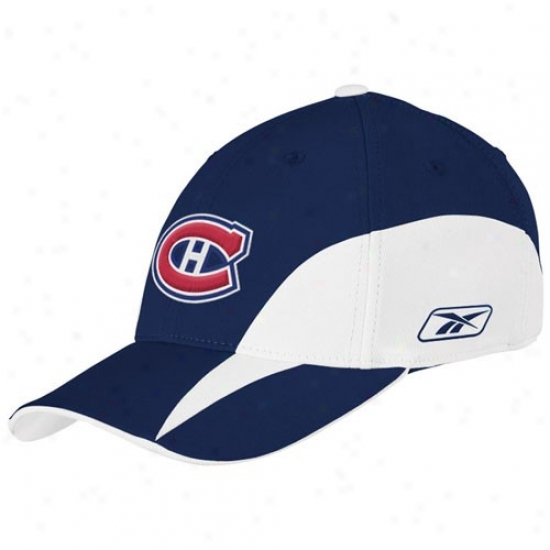Montreal Habs Gear: Reebok Montreal Habs Navy Blue  Nhl Draft Dayy Flex Fit Hat