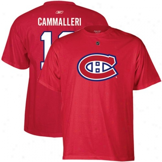 Mont5eal Habs Shirts : Reebok Montreal Habs #13 Michael Cammalleri Red Net Player Shirt