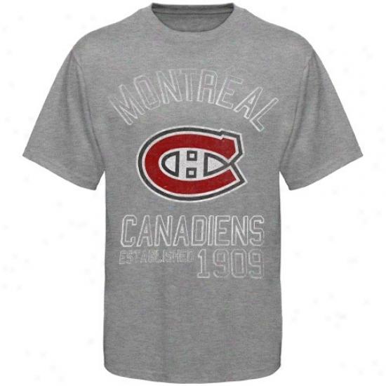 Montreal Habs Tshirts : Banner '47 Montreal Habs Ash Baseline Vintage Tshirts