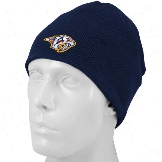 Nashville Predator Gear: Reebok Nashville Predator Navy Blue Basic Logo Knit Beanie