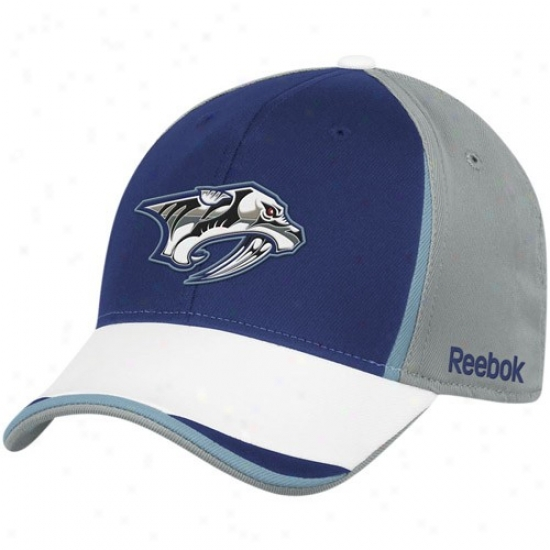 Nashville Prwdator Hat : Reebok Nashville Predator Gray-navy Blue Nhl 2010 Draft Day Flex Fit Hat