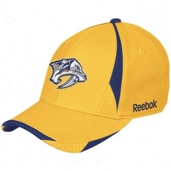 Nashville Predator Hats : Reebok Nashville Predator Gold Player 2nd Season Flex Fit Hats