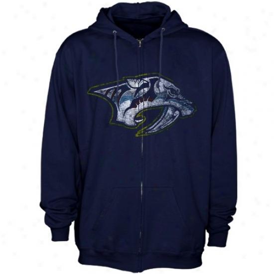 Nashville Predator Hoody : Maj3stic Nashville Predator Navy Blue Distressed Logo Full Zip Hoody