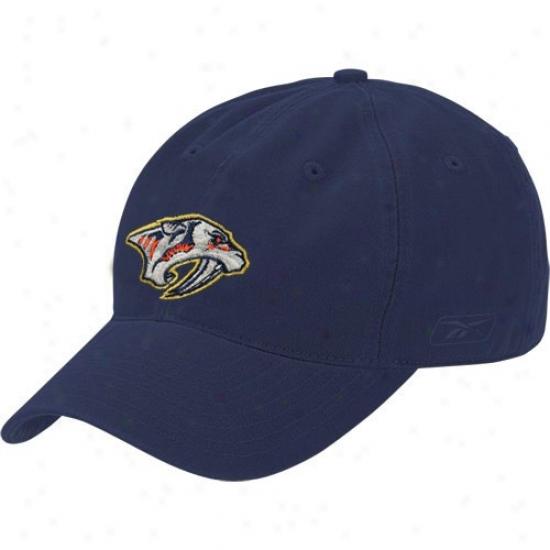 Nashville Predator Merchandise: Reebok Nashville Predator Navy Blue Face Off Slouch Flex Fit Hat