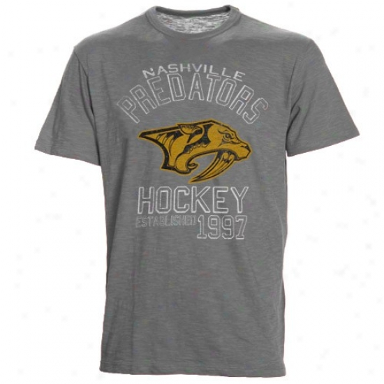 Nashville Predator Shirts : Banner '47 Nashville Predator Ash Bsaeline Distressed Shirts