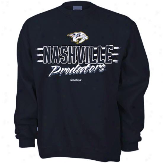 Nashvile Predator Tee : Reebok Nashville Predator Navy Blue Allegiance Sweatshirt