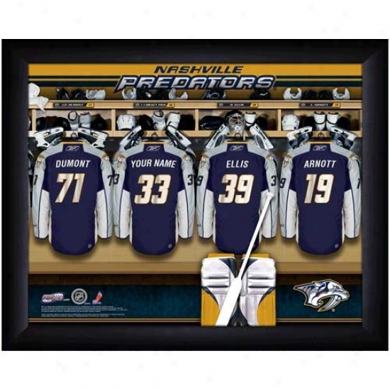Nashville Predators Customized Locker Room Black Framed Photo