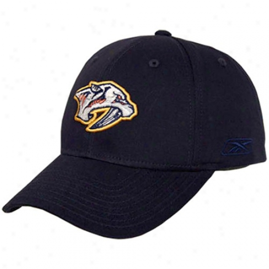 Nashville Predators Haats : Reebok Nashville Predayors Navy Blue Structured Adjustable Hats