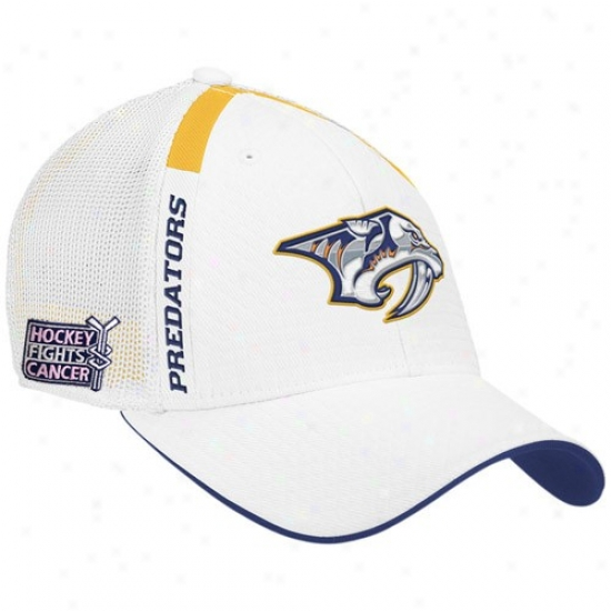 Nashville Predators Hats : Reebok Nashville Predators White  Hockey Fights Cancer Draft Day Flex Fit Hats