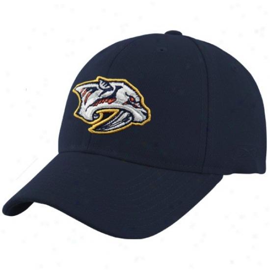 Nashville Predators Hats : Reebok Nashville Predators Ships of war Blue Basic Logo Wool Blend Adjustble Hats