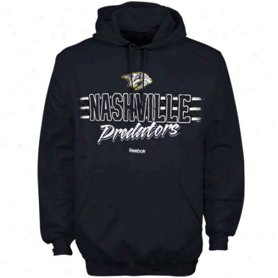Nashville Predators Hoodie : Reebok Nashville Predators Navy Blue Allegiance Pullover Hoodie